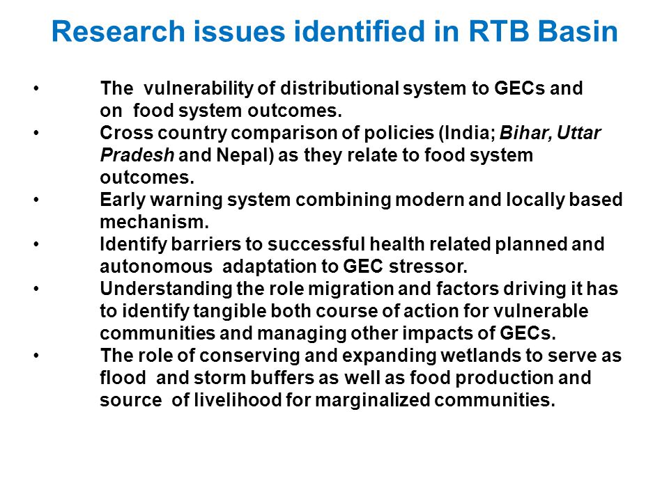 Research issues identified in RTB Basin
