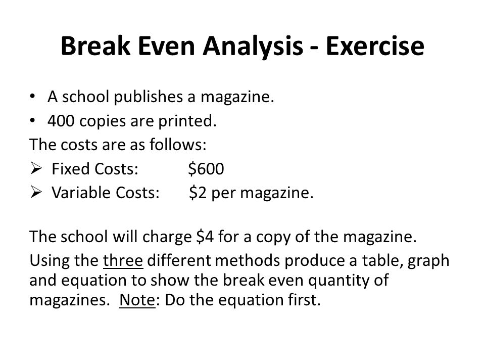 Break Even Analysis - Exercise