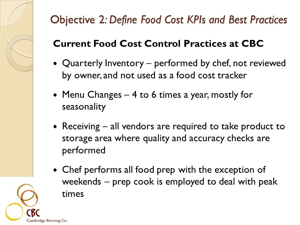 Objective 2: Define Food Cost KPIs and Best Practices