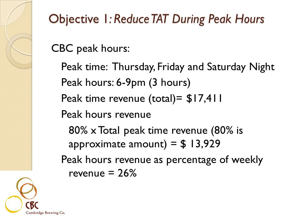 Objective 1: Reduce TAT During Peak Hours