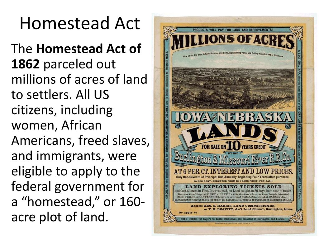 Settling the West: Homestead Act - ppt download