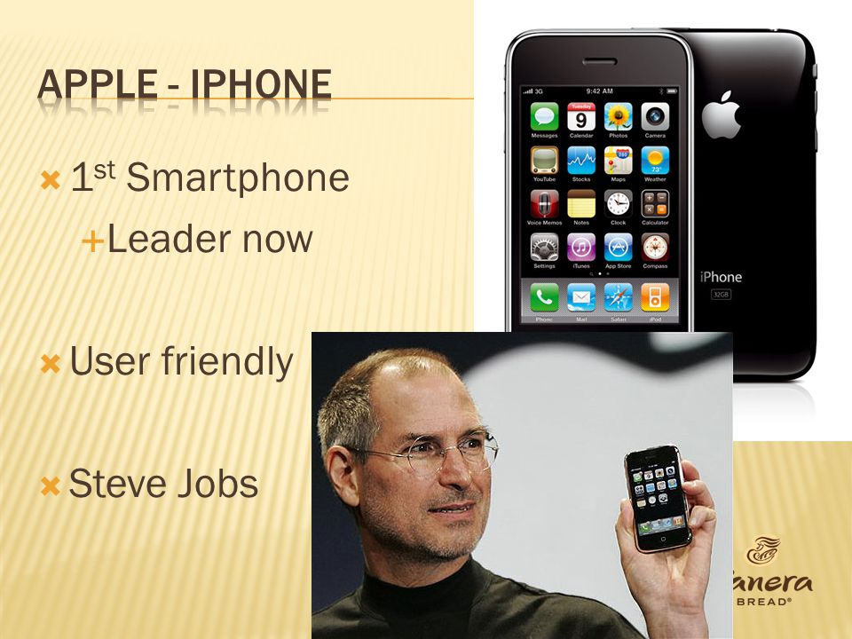 Apple - iphone 1st Smartphone Leader now User friendly Steve Jobs
