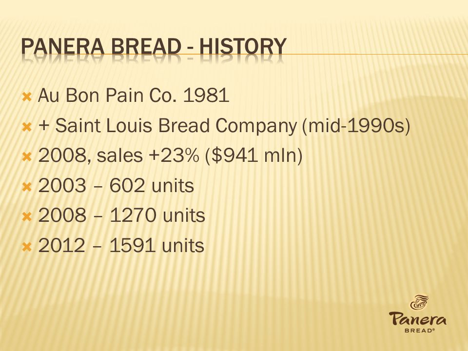 Panera Bread - history Au Bon Pain Co. 1981