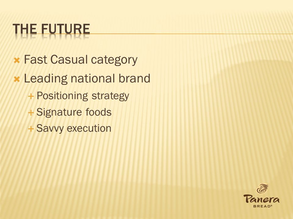 The future Fast Casual category Leading national brand