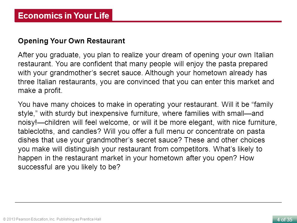 Economics in Your Life Opening Your Own Restaurant