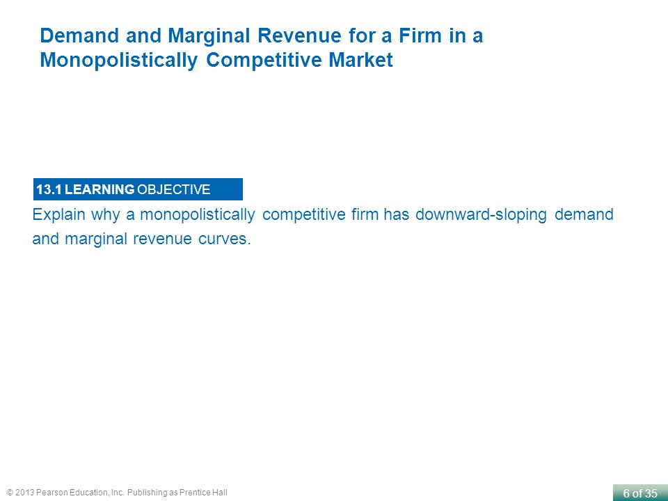 Demand and Marginal Revenue for a Firm in a Monopolistically Competitive Market