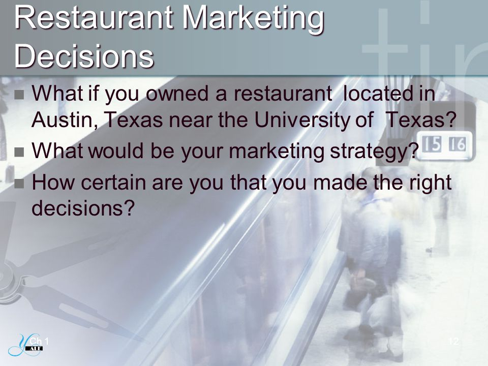 Restaurant Marketing Decisions