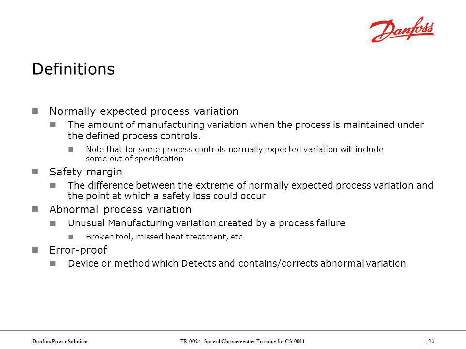 Definitions Normally expected process variation Safety margin