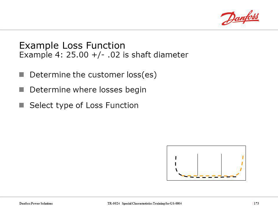Example Loss Function Example 4: 25.00 +/- .02 is shaft diameter