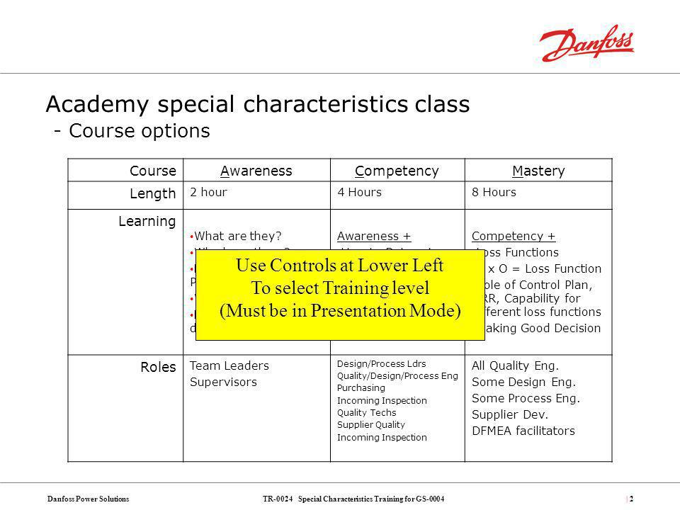 Academy special characteristics class - Course options