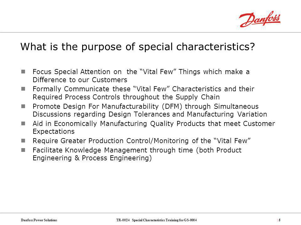 What is the purpose of special characteristics