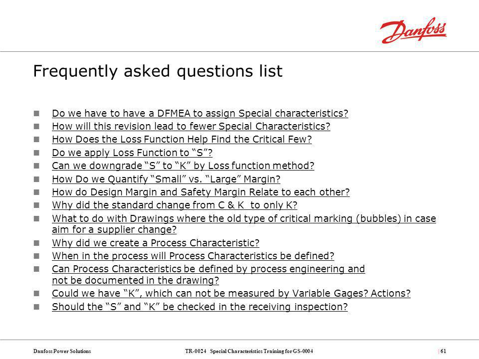 Frequently asked questions list