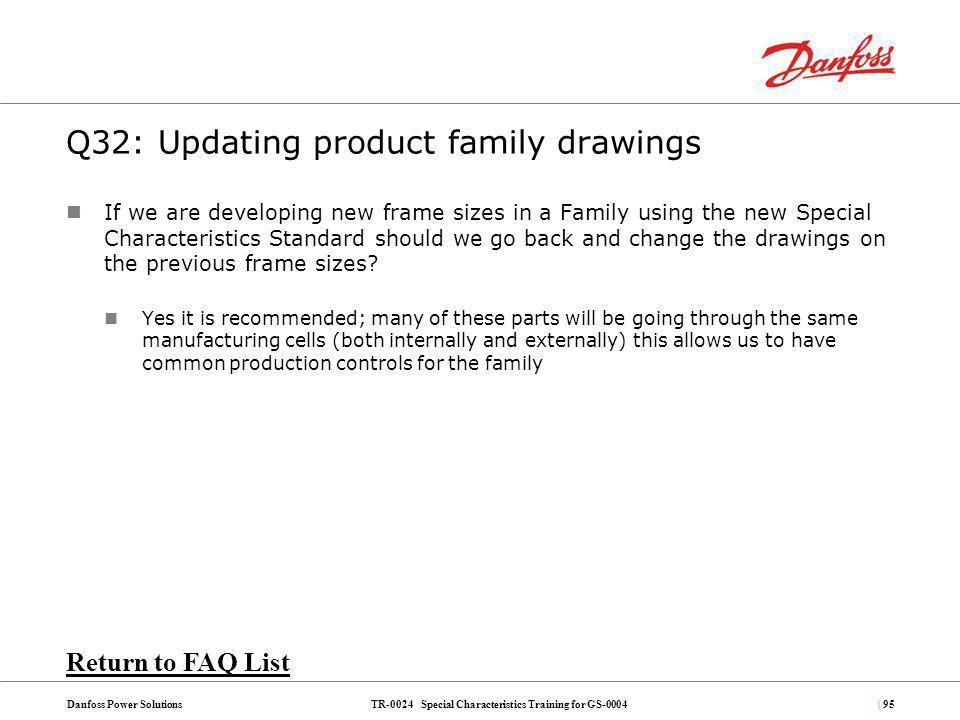 Q32: Updating product family drawings