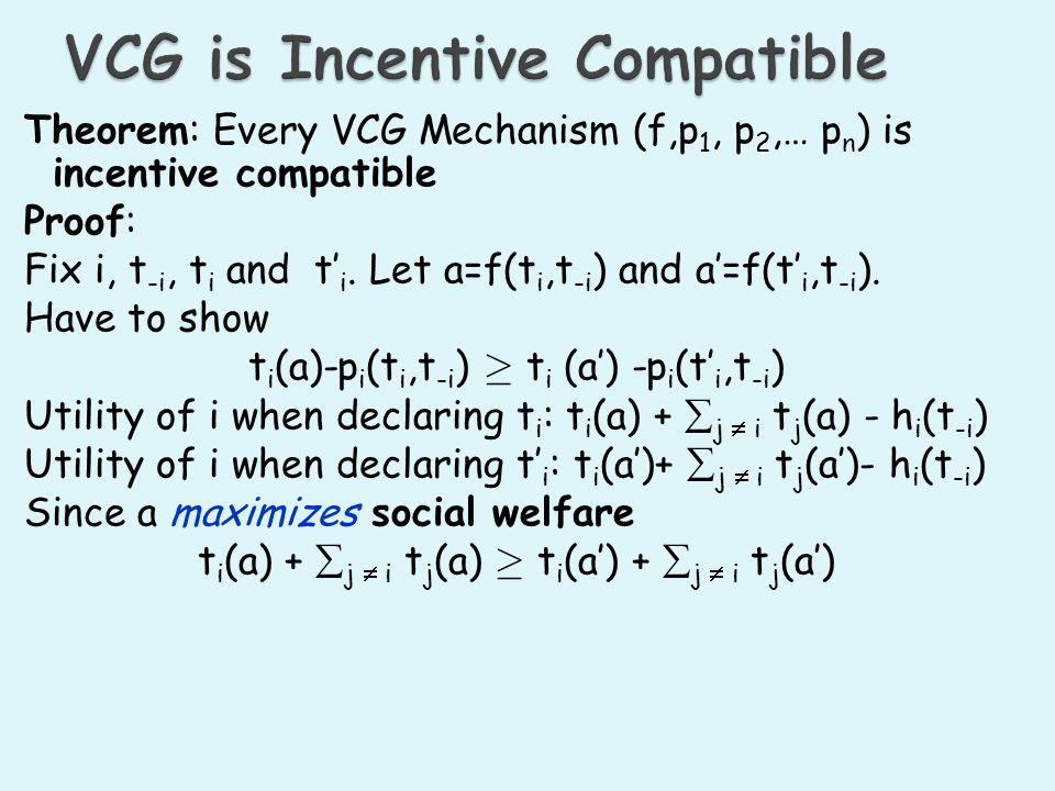 VCG is Incentive Compatible