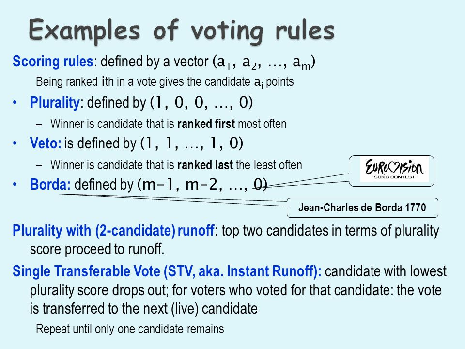 Examples of voting rules