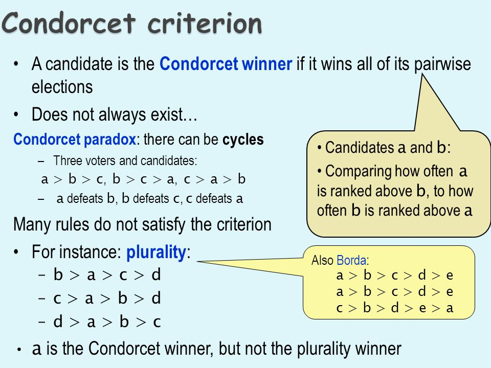 Condorcet criterion A candidate is the Condorcet winner if it wins all of its pairwise elections. Does not always exist…