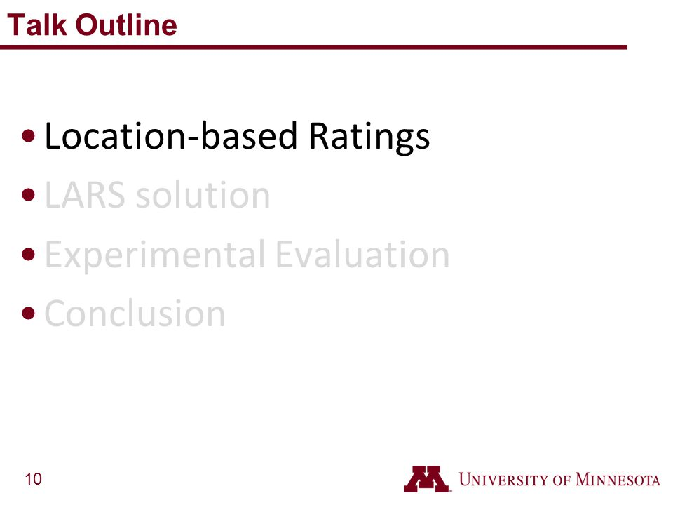 Location-based Ratings LARS solution Experimental Evaluation