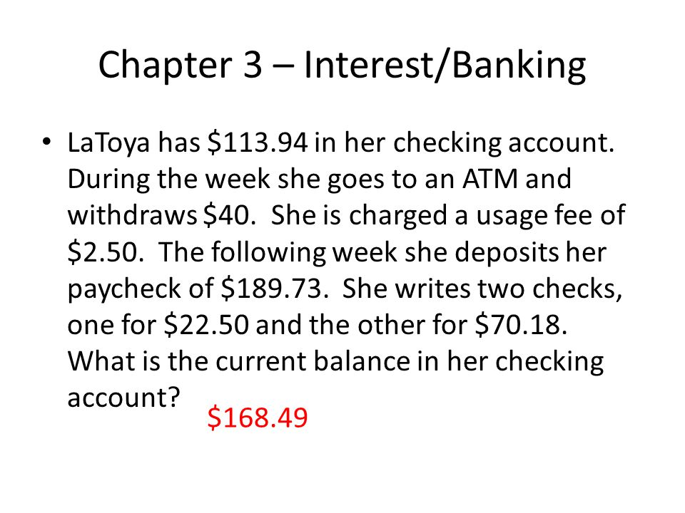 Chapter 3 – Interest/Banking