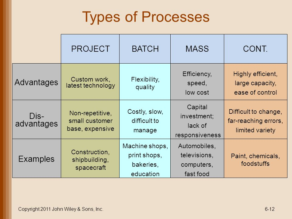 Types of Processes PROJECT BATCH MASS CONT. Advantages Dis-advantages