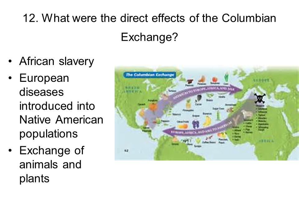 12. What were the direct effects of the Columbian Exchange