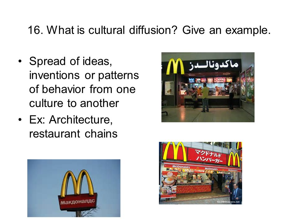 16. What is cultural diffusion Give an example.