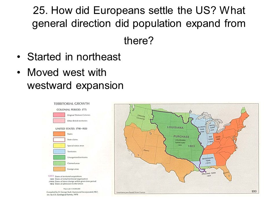 25. How did Europeans settle the US