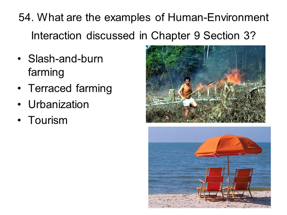 54. What are the examples of Human-Environment Interaction discussed in Chapter 9 Section 3