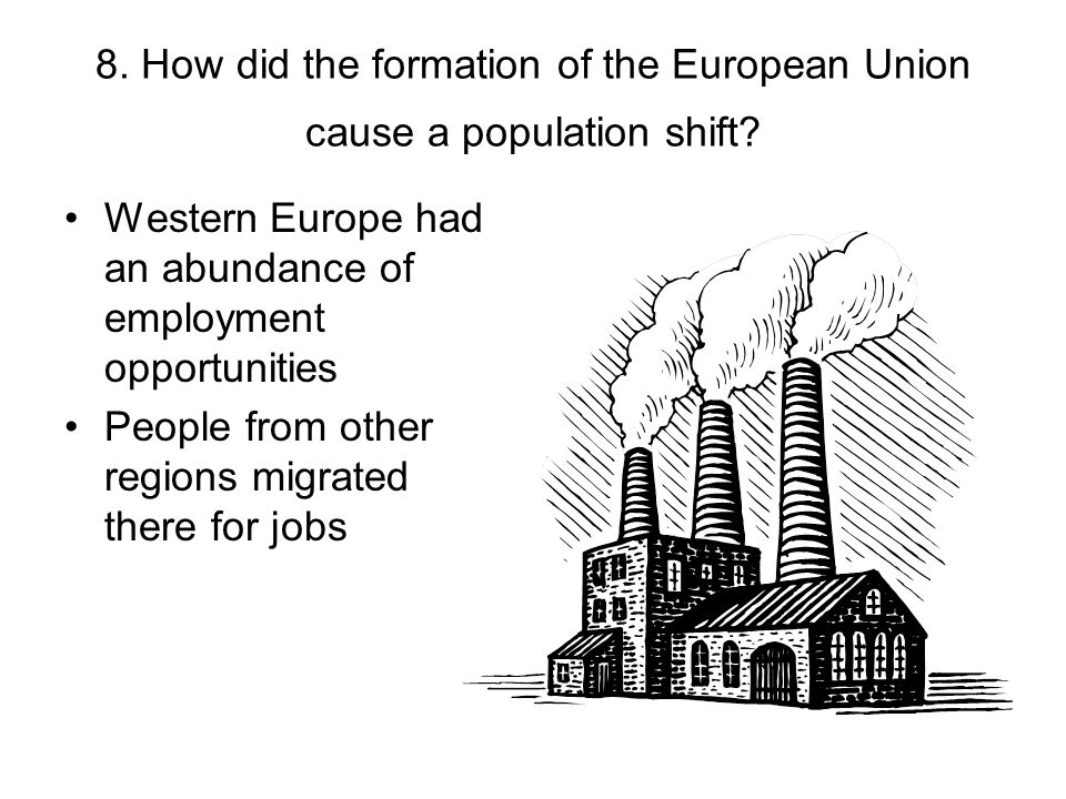 8. How did the formation of the European Union cause a population shift