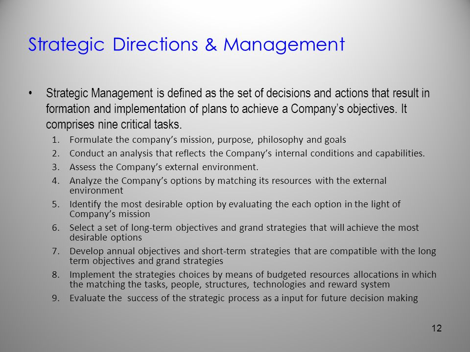 Strategic Directions & Management