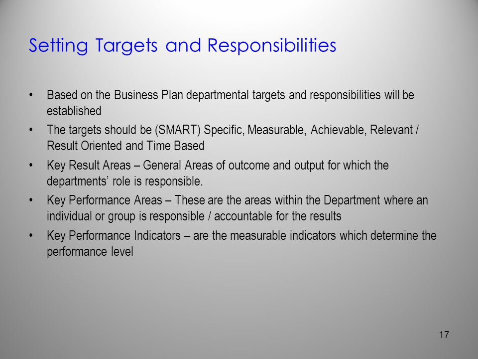 Setting Targets and Responsibilities