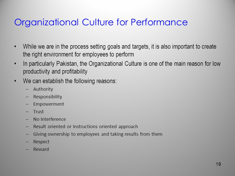 Organizational Culture for Performance