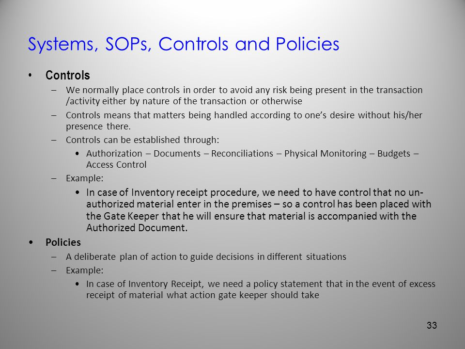 Systems, SOPs, Controls and Policies