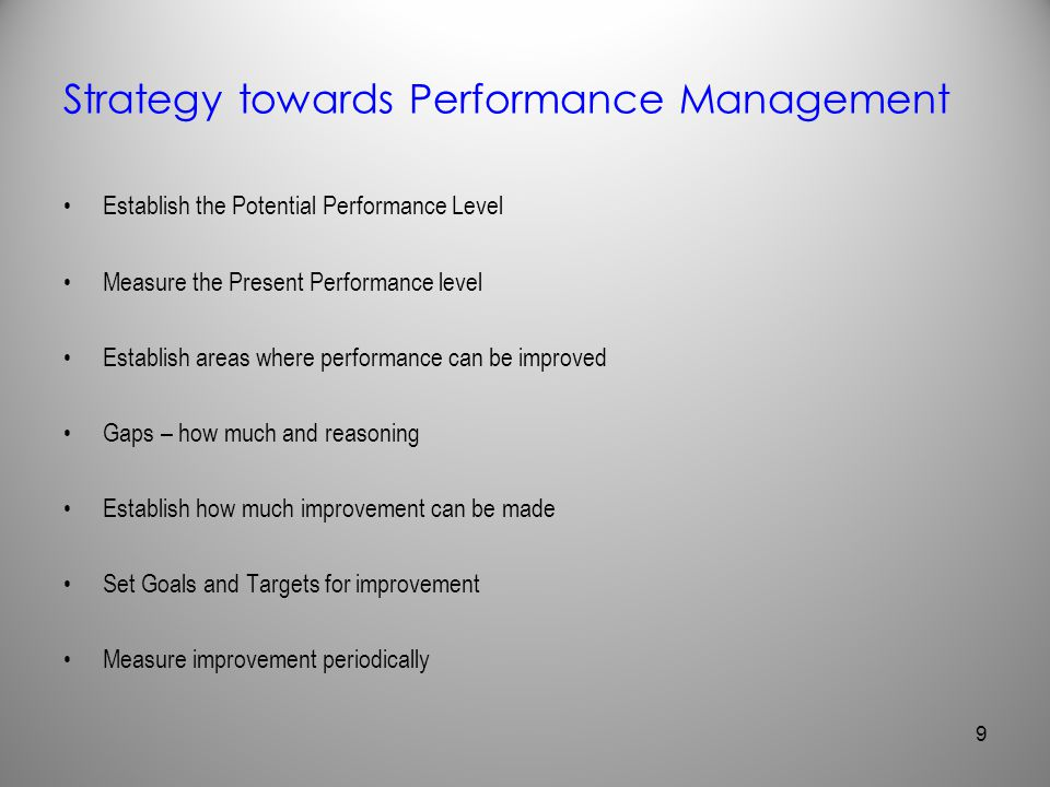 Strategy towards Performance Management