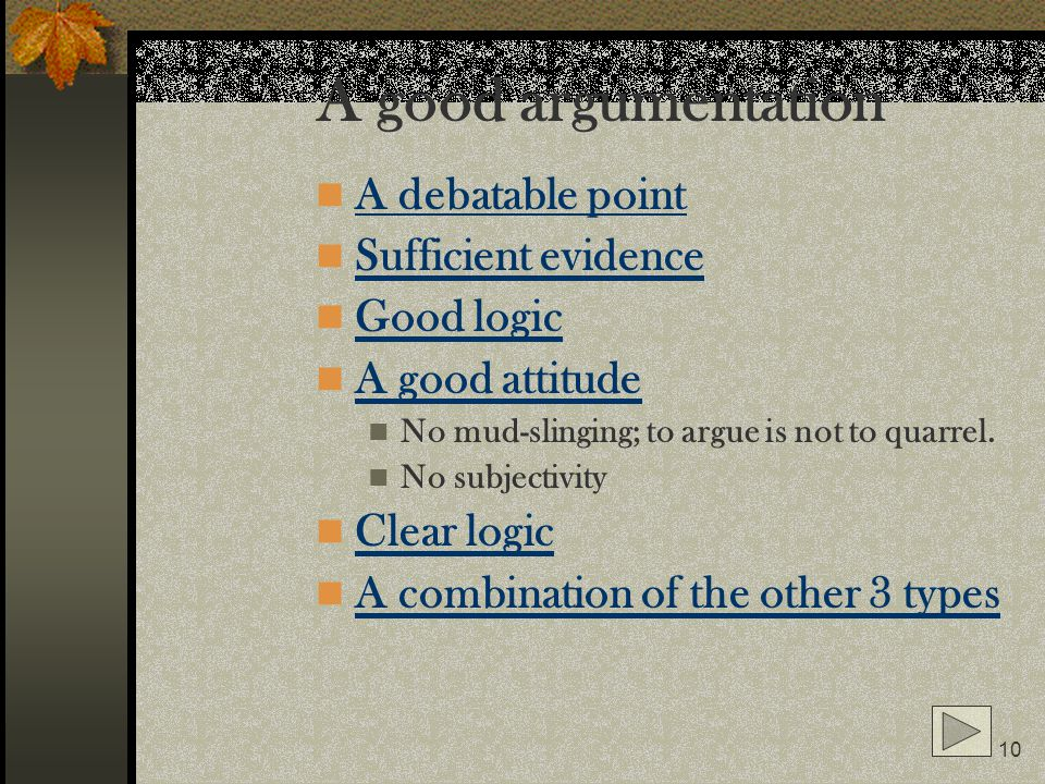 A good argumentation A debatable point Sufficient evidence Good logic