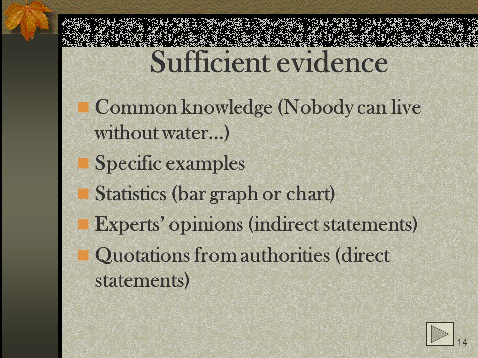 Sufficient evidence Common knowledge (Nobody can live without water…)