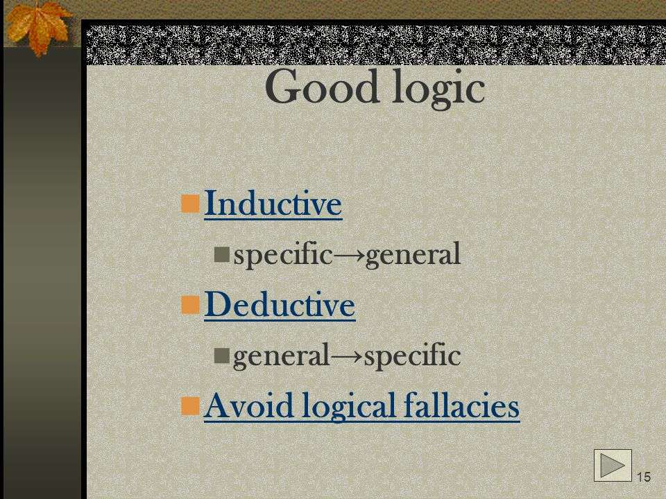 Good logic Inductive Deductive Avoid logical fallacies