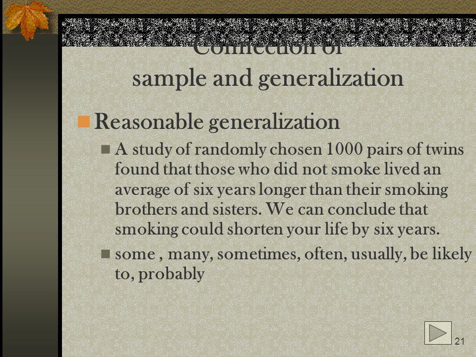 Connection of sample and generalization