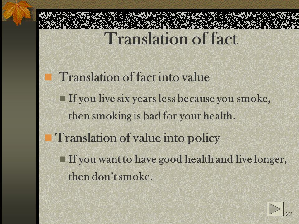 Translation of fact Translation of fact into value