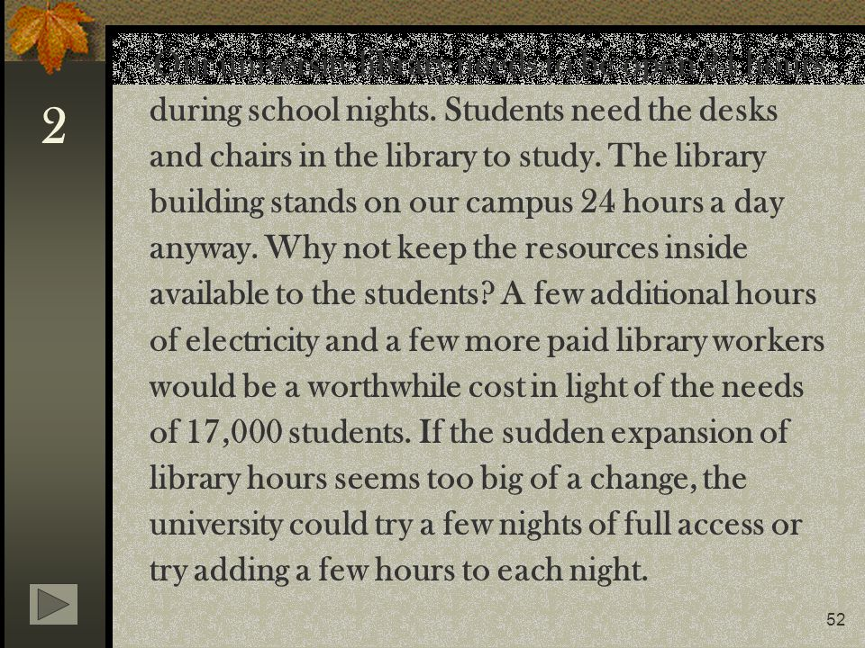 Our university library needs to be open 24 hours during school nights
