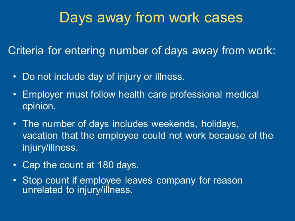 Days away from work cases