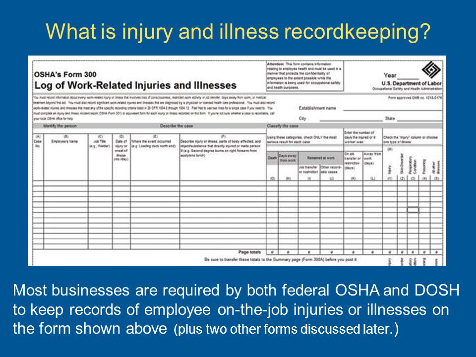 Most Businesses Are Required By Both Federal OSHA And DOSH To Keep Records Of Employee On The Job Injuries Or Illnesses Form Shown Above Plus Two
