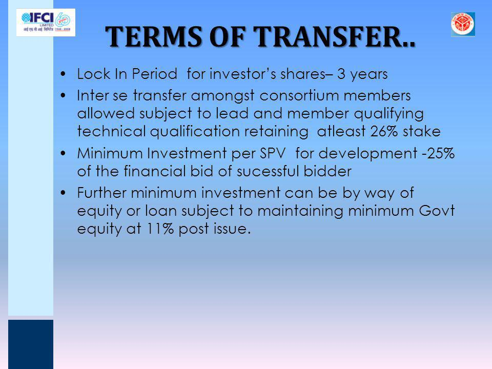 TERMS OF TRANSFER.. Lock In Period for investor's shares– 3 years