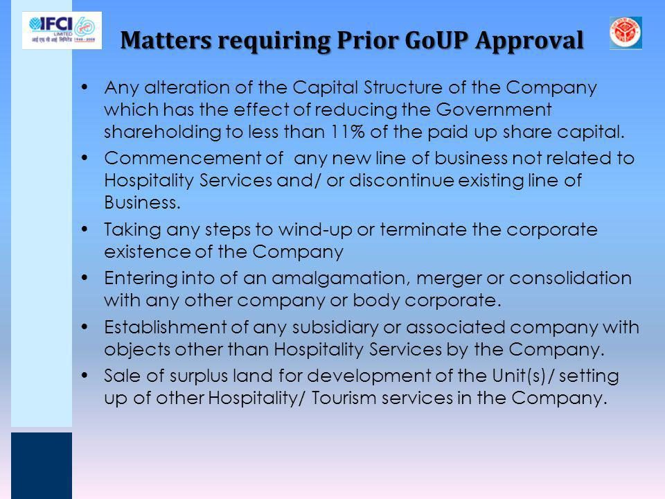 Matters requiring Prior GoUP Approval