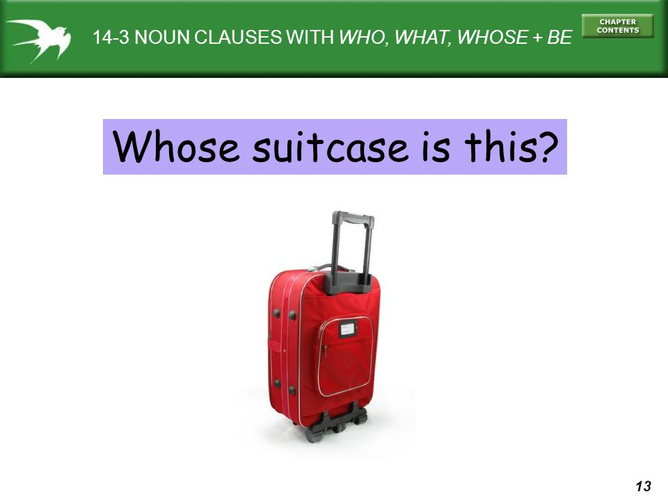 14-3 NOUN CLAUSES WITH WHO, WHAT, WHOSE + BE