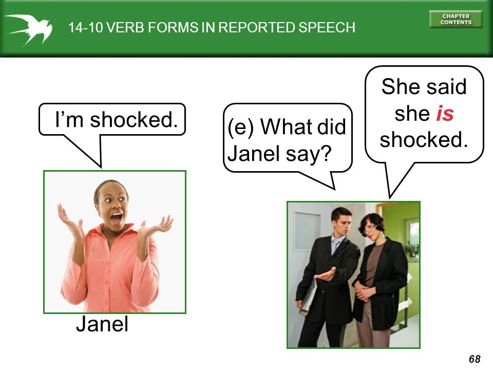 She said she is shocked. I'm shocked. (e) What did Janel say Janel