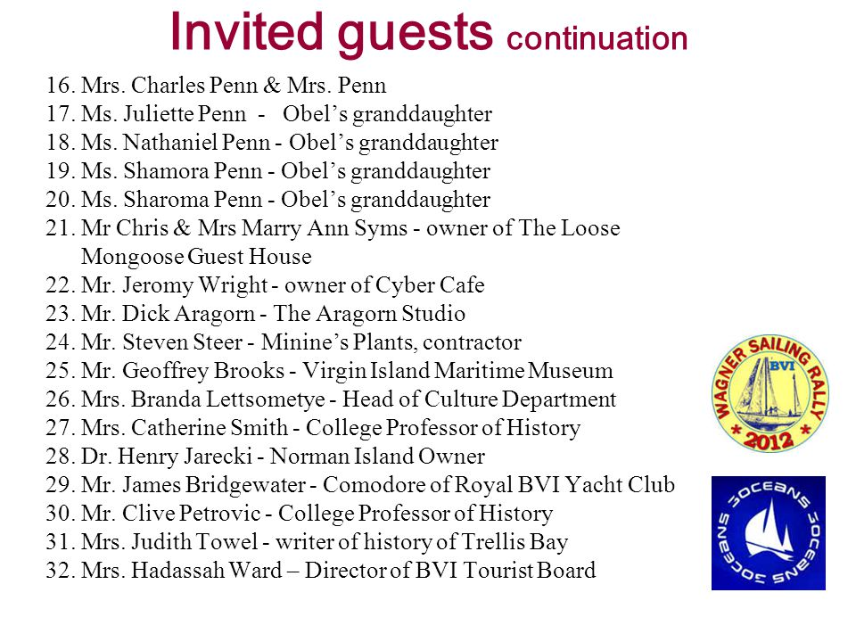 Invited guests continuation