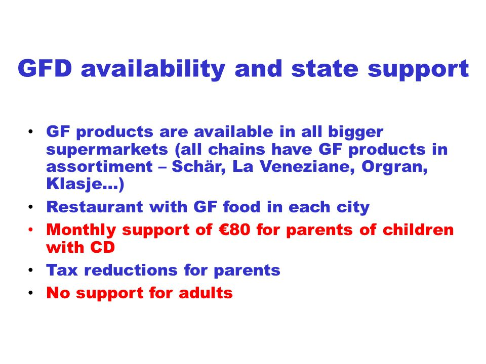 GFD availability and state support