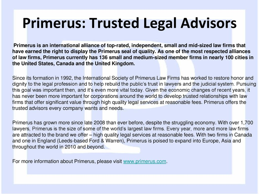 International Society of Primerus Law Firms - ppt download
