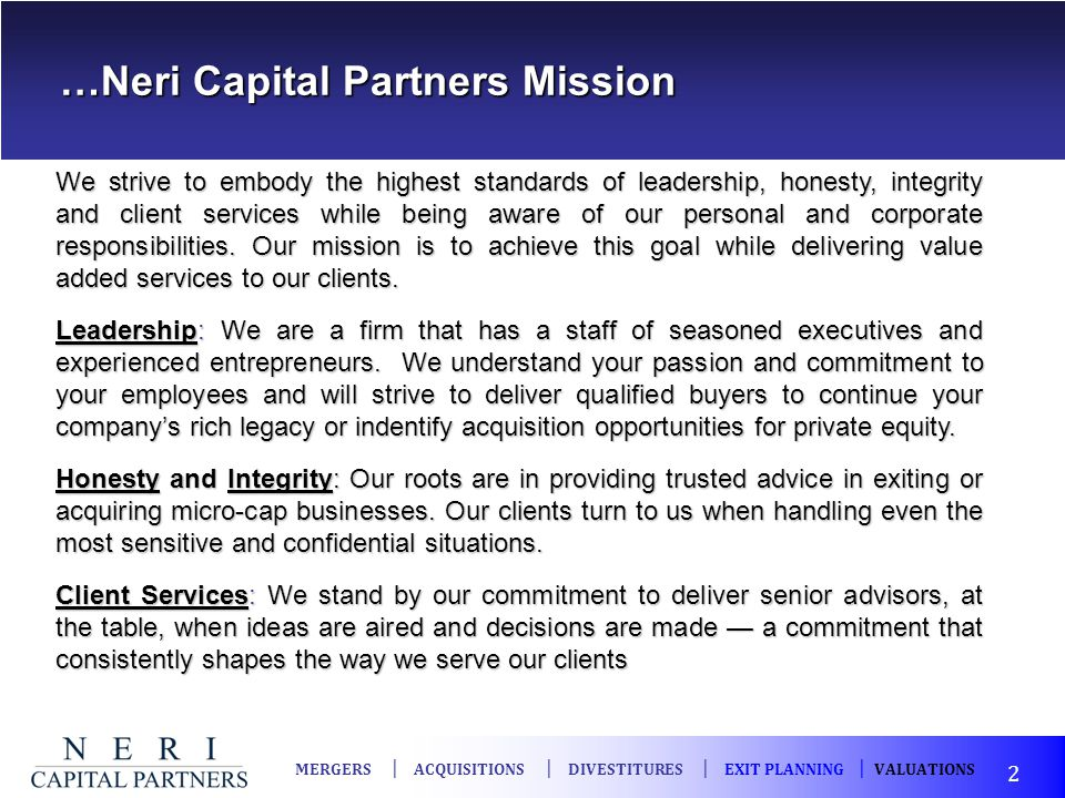 …Neri Capital Partners Mission