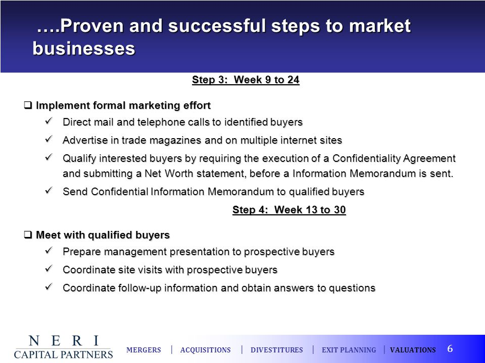 ….Proven and successful steps to market businesses